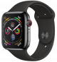 Apple Watch Series 4 GPS+ Cellular 44mm Black Stainless Steel Case with Black Sport Band MTX22